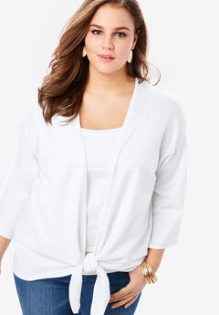 Tie-Front Cardigan with Kimono Sleeves, WHITE
