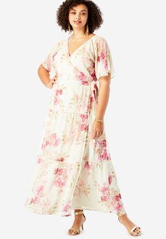 Surplice Maxi Dress in Crinkle, MAUVE BRUSHSTROKE FLORAL