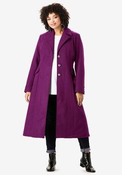 Long Wool-Blend Coat, DARK BERRY