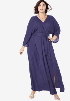 Crinkle Belted Maxi Dress, NAVY