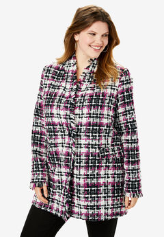 Textured Plaid Coat, BLACK RASPBERRY PLAID