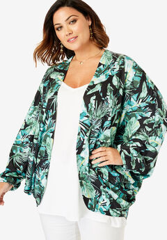 Cocoon Kimono Jacket, TROPICAL LEAVES PRINT
