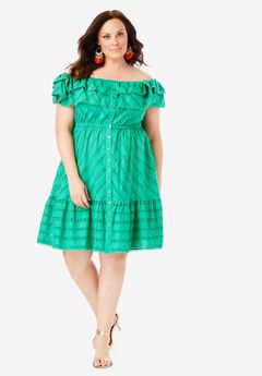 Ruffled Off-the-Shoulder Dress, TROPICAL EMERALD