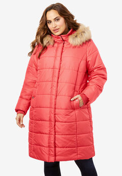 Mid-Length Quilted Parka with Hood, SOFT GERANIUM