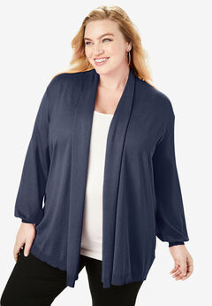 Fine Gauge Shawl-Collar Cardigan, NAVY