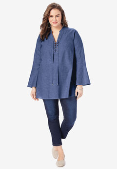 Lace-Up Chambray Tunic,