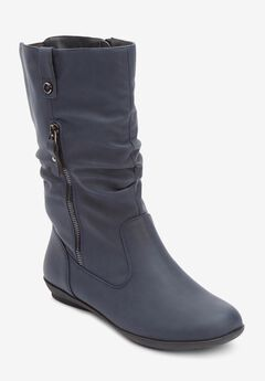 The Keomi Wide Calf Boot , NAVY