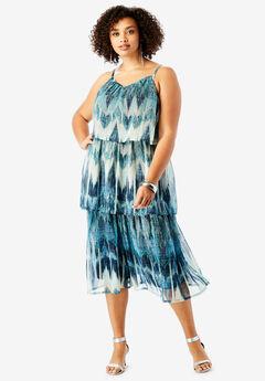 Tiered V-Neck Dress with Adjustable Straps, NAVY IKAT PRINT