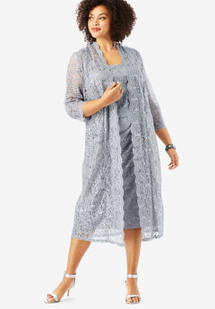 Lace & Sequin Jacket Dress Set, SILVER SHIMMER