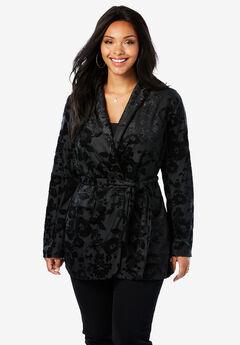 Belted Velvet Blazer with Burnout Pattern, BLACK