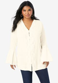 Lace-Trim Crinkle Tunic,