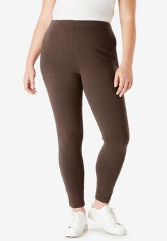 Ankle-Length Essential Stretch Legging, CHOCOLATE