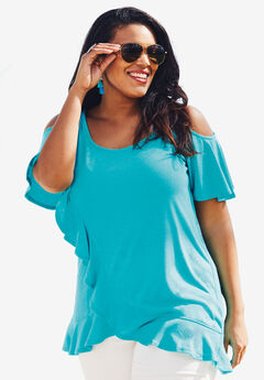 Cold-Shoulder Ruffle Tunic with Flutter Sleeves, VIBRANT TURQ