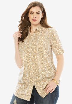 Kate Short-Sleeve Shirt, KHAKI TRIBAL