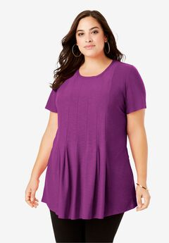 Pleated Tunic with Short Sleeves, PURPLE MAGENTA