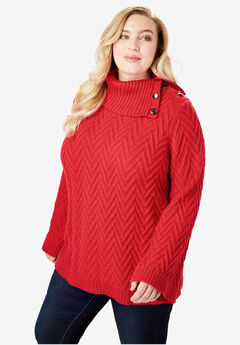 Button Cowl-Neck Sweater with Flared Sleeves, VIVID RED
