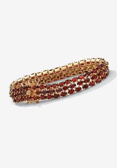 Gold & Sterling Silver Tennis Bracelet with Garnet,