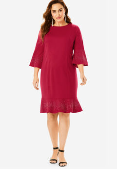 Bell-Sleeve Ponte Dress, CLASSIC RED