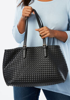 Large Woven Satchel, BLACK