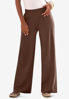 Wide-Leg Soft Knit Pant, RICH BROWN