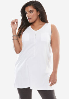 Button-Front Henley Ultimate Tunic Tank, BRIGHT WHITE