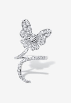 Platinum-Plated Cubic Zirconia Butterfly Ring,