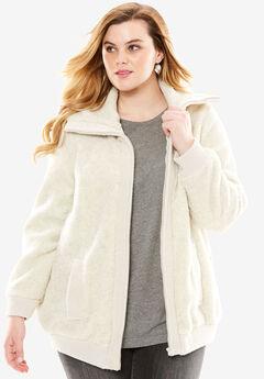 Textured Fleece Bomber Coat, HEATHER OATMEAL