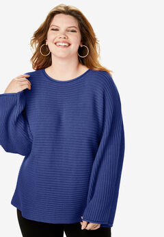 Ribbed Scoopneck Sweater with Flared Sleeves,