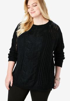 Loose Crochet Sweater, BLACK