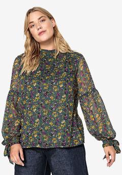 Mockneck Floral Tie-Sleeve Blouse Castaluna by La Redoute, CYPRESS GREEN FLORAL