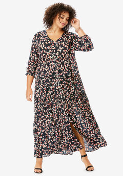 Tiered Crinkle Maxi Dress with Blouson Sleeves, BLACK MULTI PAINTED