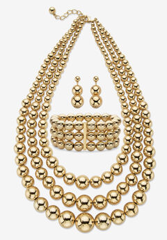 "Gold Tone Graduated Bib 17"" Necklace Set,"