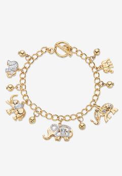 Gold Tone Round Crystal Elephant Charm Bracelet,