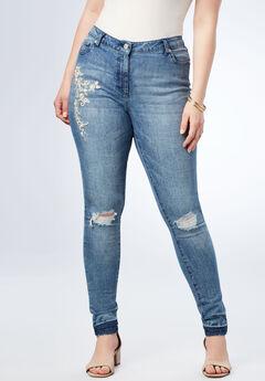 Pearls & Rhinestone Skinny Jean, PEARL
