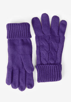 Cable Knit Gloves, MIDNIGHT VIOLET