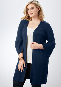 Ribbed Bell-Sleeve Cardigan, NAVY