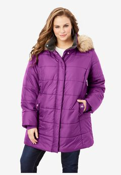 Classic-Length Quilted Parka with Hood, PURPLE MAGENTA