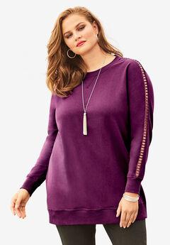 Crochet Sleeve Sweatshirt,