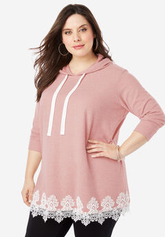Supersoft Hoodie Sweatshirt with Lace Trim, SOFT MAUVE