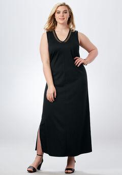 V-Neck Maxi Dress, BLACK