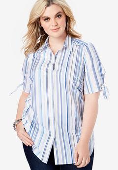 Tie-Sleeve Kate Shirt, BLUE MULTI STRIPE