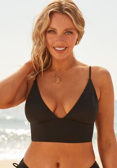 Camille Kostek Plunge Away Bikini Top, MIDNIGHT