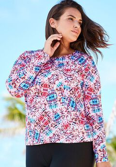 Long Sleeve Swim Tee with Sun Protection, PINK BLUE TRIBAL