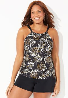 High Neck Tankini Set with Banded Short,