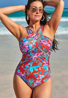 High Neck Wrap One Piece Swimsuit, RED FLORAL