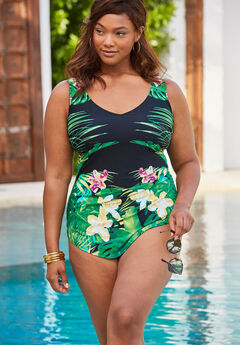 Sarong-Front One-Piece Swimsuit by Beach Belle, EVENING TROPICAL FLORAL