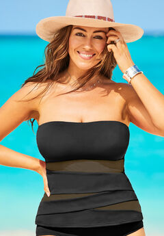 Mesh Wrap Bandeau Tankini Top, BLACK