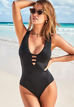 Strappy Scoopneck One Piece Swimsuit,