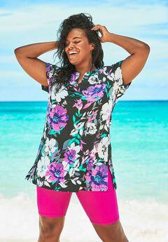 Short-Sleeve Swim Tunic, PINK GRAPHIC PEONY