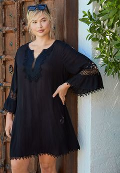 Embroidered Crinkle Coverup,